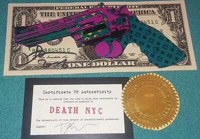 DEATH NYC original signed art real $1 US currency money dollar bill mixed media