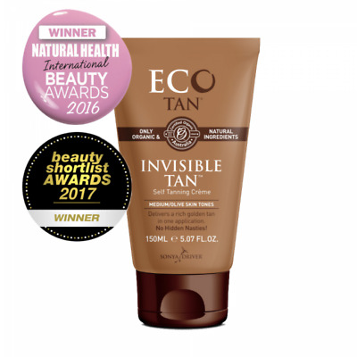 Eco Tan Invisible Tan - Medium, Olive Skin Tones Express Self Tanner 150 ml