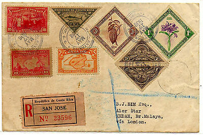 Costa Rica To Malasia - 1938 Registered Cover Assorted