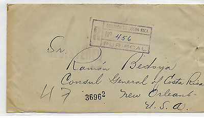 Costa Rica To Usa - 1925 Registered + Ar Cover From Puriscal
