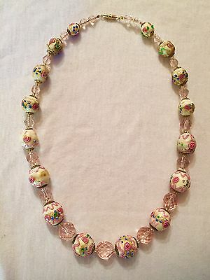 Antique Vtg Rare Cream & Pink Venetian Foil Victorian Wedding Cake Bead Necklace