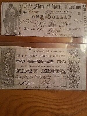 CONFEDERATE MONEY State of Virginia 50 cents STATE OF N.C. 1.00