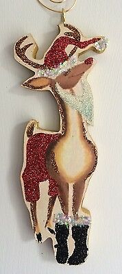 Rudolph The Red Nosed Reindeer In Santa Suit Glitter CHRISTMAS ORNAMENT Vtg Img