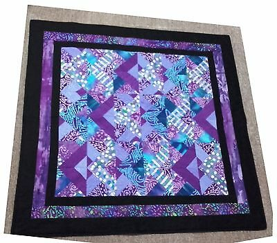 Purple Batik Lap Quilt - Quilted Patchwork Cot Quilt Baby Blanket Sofa Throw