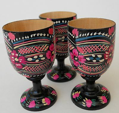 Russian Hand Painted Wooden Cups,Russia,Wood,Lot of 3