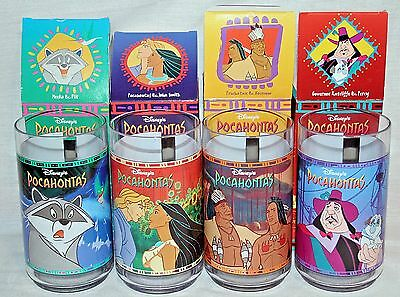 Complete Set of 4 Collector Series Pocahontas Glasses Burger King Disney New