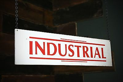 """Vintage Original """"INDUSTRIAL"""" Double Sided Wood Advertising Factory Sign Shop"""