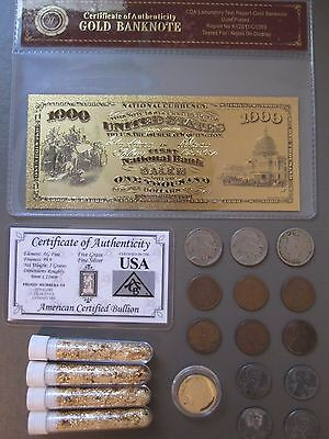 Old Coin Collection Lot Junk Drawer Silver Bar Coa 24K Gold Banknote Wheat Cents