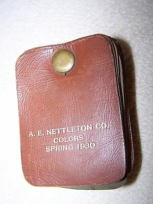 "Vintage 1930 A.e. Nettleton Co. Leather Swatches Samples (42) All Marked 4""x3"""