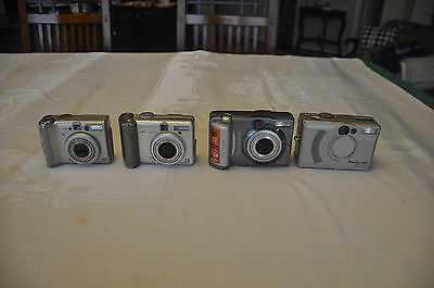Lot of Four (4) Canon PowerShot Digital Cameras For Parts