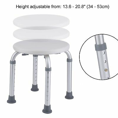 Adjustable Height Round Bathroom Bathing Shower Chair Bath Stool Bench Seat Aid
