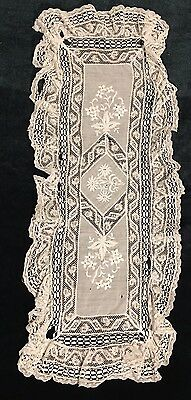 "Antique White Embroidered  French Layer Bridal Handkerchief 16""x6"""