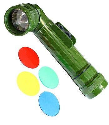Military Style Torch Flashlight With Colored Lenses :  ( Pack of  4 Pcs. )