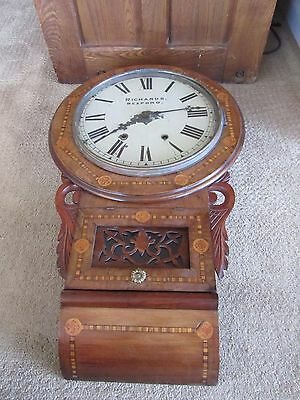 Antique Marquetry Victorian New Haven Inlaid Wood Drop Dial Wall Clock AS FOUND