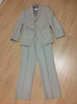 3 Piece Suit Men's Size 38/32 Beige Colour in Near New Condition Worn Once