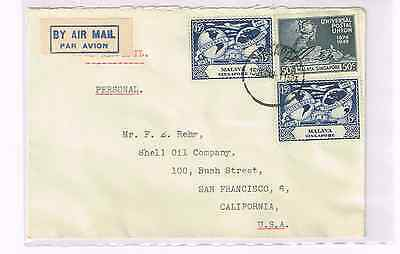 Malaya/Singapore 1949 UPU cover to US+franking 3 UPU stamps+nice airmail label