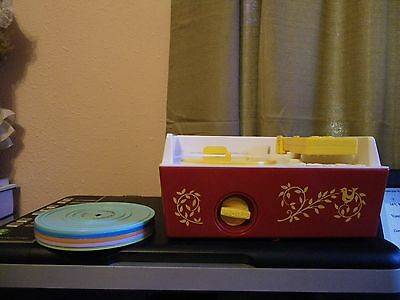 Vintage Style Fisher Price Music Box Record Player with 5 Records