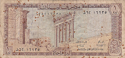 Lebanon 1 Livre Pound Banknote From The Banque Du Liban Currency Note