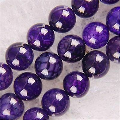 NEW!!!8mm Purple Dragon Veins Agate Round Loose Beads 15''AAA##
