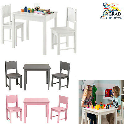 G4RCE Childrens Wooden White Table and Chair Set For Kids Toddlers Homework play