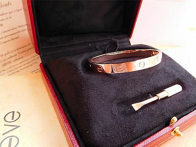 Cartier Love Bangle Bracelet in 18k Rose Gold size 19 Screwdriver/BOX
