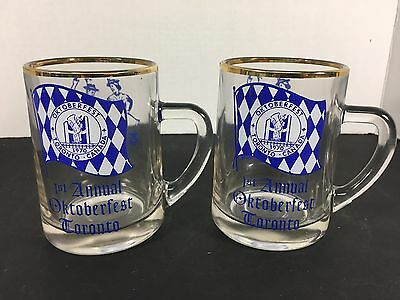 Pair of Vintage 1970 Oktoberfest Toronto 1st annual beer glass mug stein