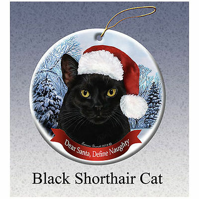 Black Cat Howliday Porcelain China Dog Christmas Ornament