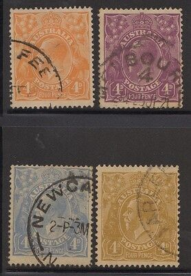Australia KGV 4d group of all 4 colours, used -2-