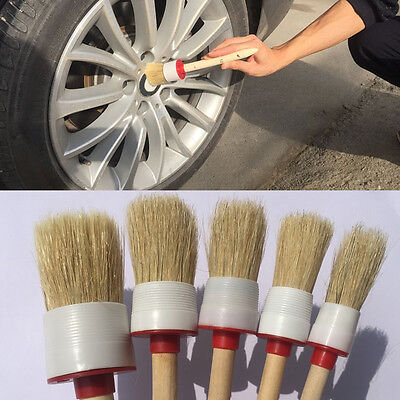 1Pc Soft Wood Handle Paint Car Wash Detailing Brush Clean For Auto Seat Wheel