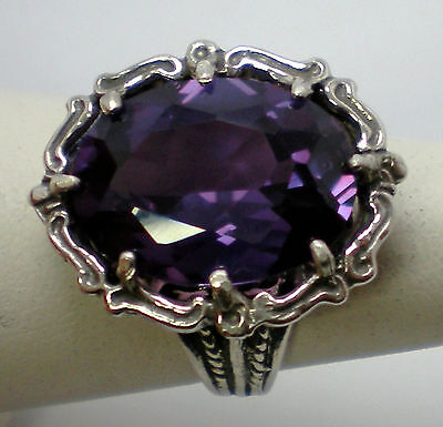 12ct purple raspberry alexandrite antique 925 sterling silver ring size 10 USA