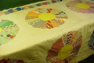 Charming Prints! Vintage Dresden Plate Quilt Top 76X92 Feedsack Applique