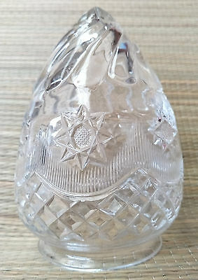 Vintage Clear Crystal Glass LIGHT LAMP SHADE - Bevelled Spiral Star Decor