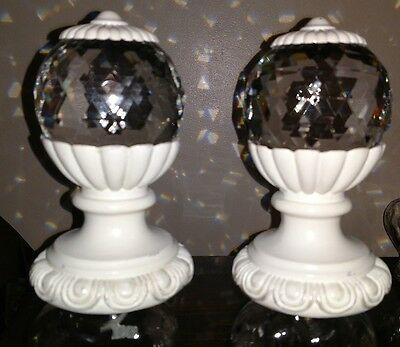 2 Staircase Newel Finial Cut Glass Crystal Ball End Cap Post Banister  Vtg