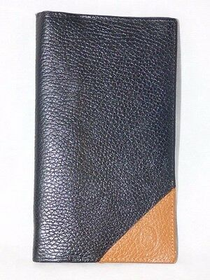 Men's Bifold Leather Long Wallet Credit Card, Checkbook, Coin Holder Black & Tan