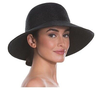 New Eric Javits Black Squishee IV Wide Brim Straw Sun Derby Hat Cap Beach