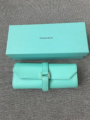New Tiffany & Co Blue Leather Jewelry Travel Purse Bag Roll Case Container Box