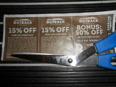 Lot Of 19 15% Guest Dinner 15% Lunch Check Outback Steakhouse Coupon Sheets 7/27