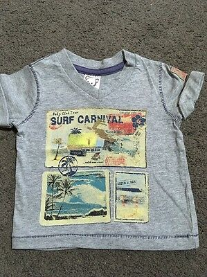 Baby Boys Short Sleeved Grey Top Size 0-3 Months EUC
