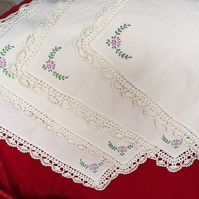 """Crochet and Embroidery Square Handmade 19""""x19""""table cloth/mat/cover EC004"""
