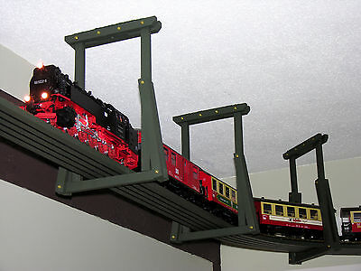 Overhead Ceiling Train Brackets with R-3 (8' curved) Roadbeds for G-Scale Trains