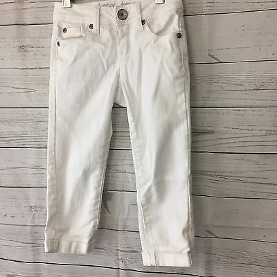 Justice little girls white denim jeans cropped capris size 7/S kids