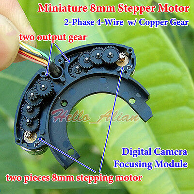 2PCS Mini 8mm Stepper Motor 2-Phase 4-Wire With W/Copper Gear For Digital Camera