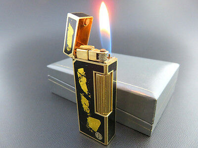 VERY RARE!! ALFRED Dunhill Rollagas Lighter Black Lacquer & Gold Leaf with Box