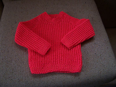 New Hand Knitted Jumper Bright Coral 2 -3   Years Approx