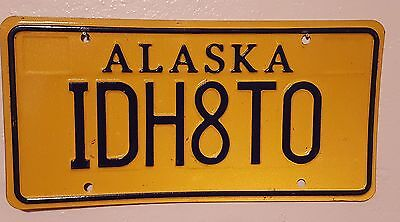 Vintage Alaska Vanity License Plate - IDH8TO - I'd Hate To - Authentic DMV Issue