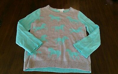 Garnet Hill Girls Horse Sweater S 4 5 6 aqua blue EUC