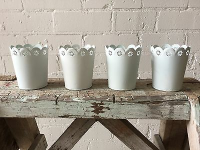 Candle Holder SET OF 4, Scallop Votives in White Metal