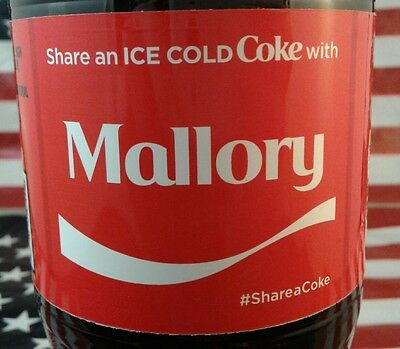Share A Coke With Mallory Limited Edition Coca Cola Bottle 2017 USA