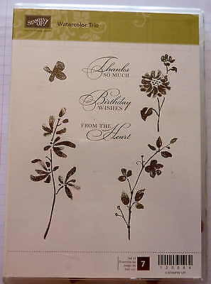 """Stampin' UP! """"Watercolor Trio"""" Rubber stamp Set of 7"""