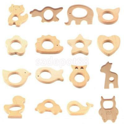 Natural Beech Wood Baby Teether Toy DIY Jewelry Nursing Necklace Wooden Pendant
